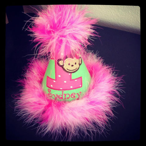 Personalized Mod Monkey Girl Party Hat