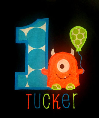 Personalized Little Monster Birthday Design - Bright Colors