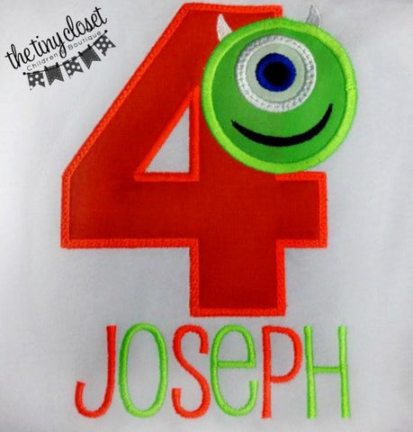 Personalized Monsters Inc Mike Wazowski Birthday Design- Neon