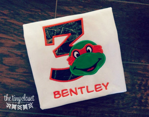 Personalized Ninja Turtle Birthday Design- Orange Camo