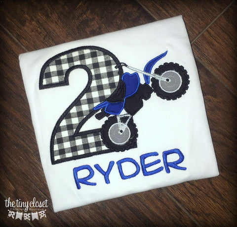 Personalized Motor Cross Birthday Design- Gingham