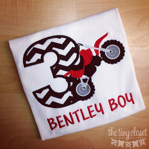 Personalized Motor Cross Birthday Design- Black Chevron