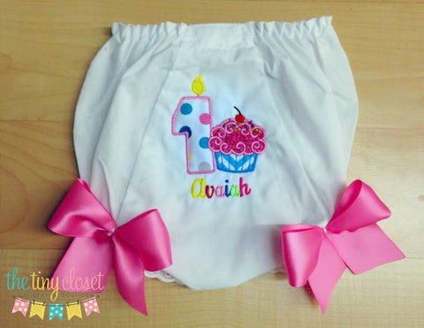Personalized Rainbow Cupcake Birthday Bloomer-  Large Dot