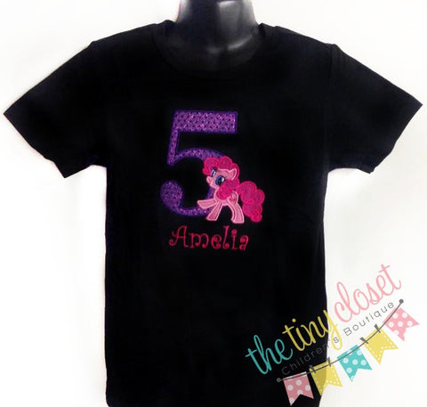 Personalized My Little Pony Birthday Design- Pinkie Pie Full Body-Blk