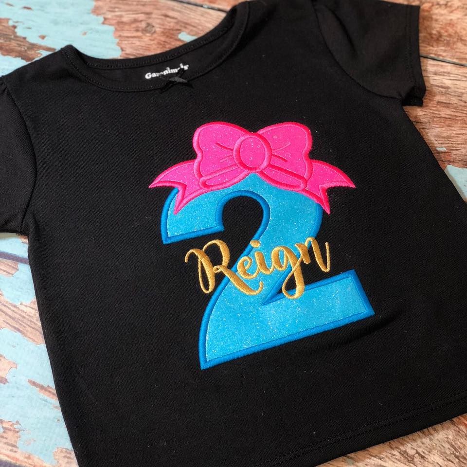 Personalized Neon Birthday Bow Design