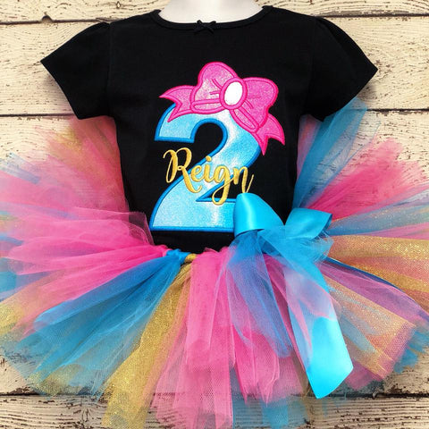 Personalized Neon Birthday Bow Tutu Set