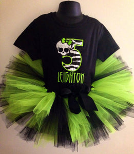 Personalized Monster High Birthday Tutu Set- Neon Green
