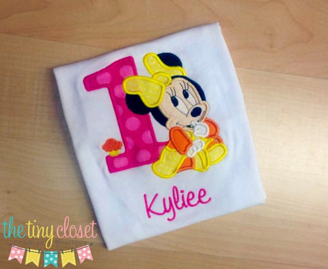 Personalized Baby Minnie Mouse Birthday Design - Bright Colors