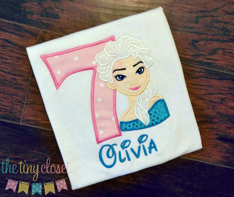 Personalized Frozen Elsa Birthday Design- Pink & White Dots