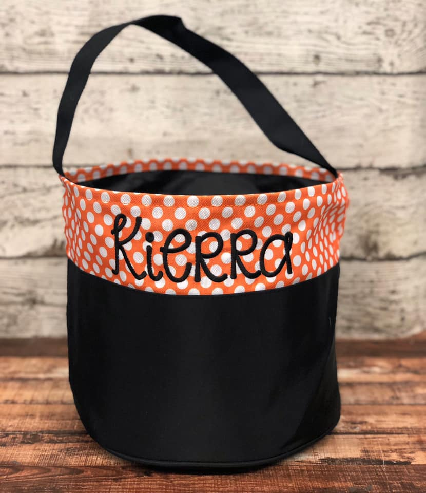 Personalized Trick or Treat Bucket- Small orange/ white dots