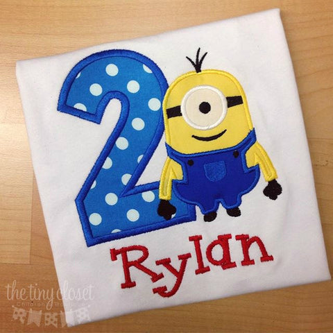 Personalized One Eye Minion Birthday Design - Blue Dot