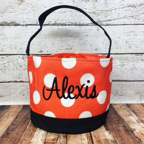 Personalized Polka Dot Trick or Treat Bucket- Orange/White