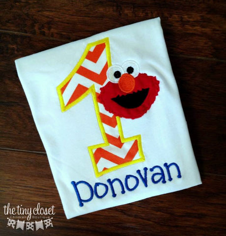 Personalized Elmo Birthday Design- Orange Chevron