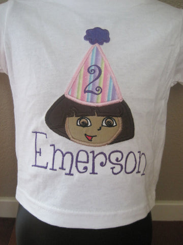 Personalized Dora the Explorer Birthday Design- Light Rainbow