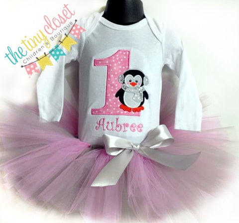 Personalized Penguin Birthday Tutu Set- Lt Pink Dot