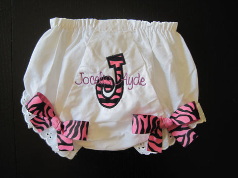 Personalized Initial Monogram Bloomer - HP Zebra