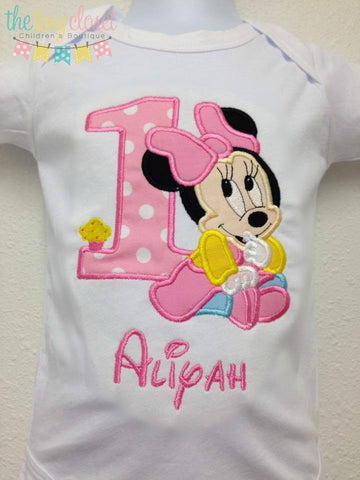 Personalized Baby Minnie Birthday Design Pink White Dot