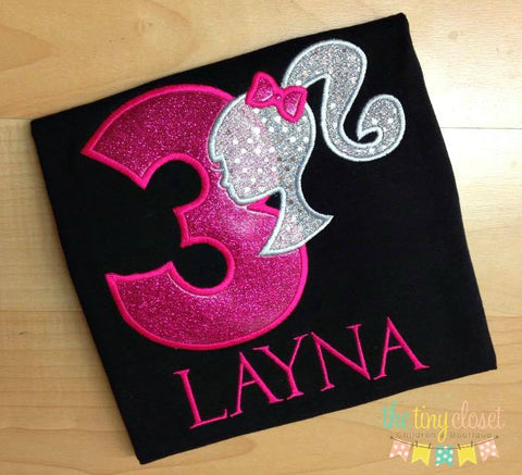 Personalized Barbie Birthday Design- Fushia & Silver