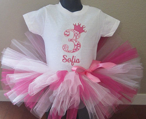 Personalized Princess Birthday Tutu Set-  Pink Damask