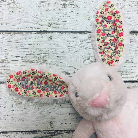 Personalized Easter Bunny-  Pink Floral