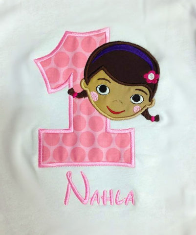 Personalized Doc Mcstuffins Birthday Design- Pink Dot