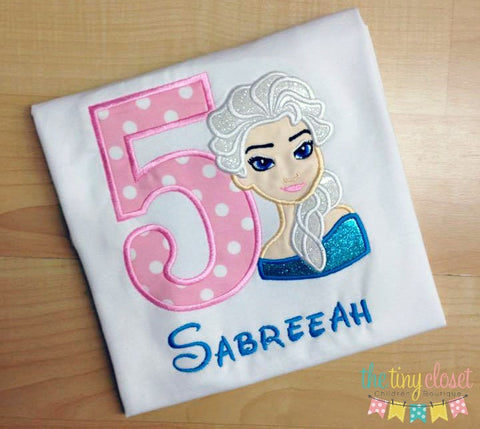 Personalized Frozen Elsa Birthday Design- Pink & White Dot