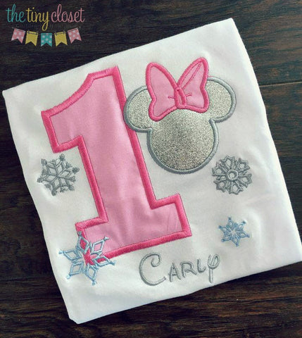 Personalized Minnie Mouse Birthday Design- Pink Winter