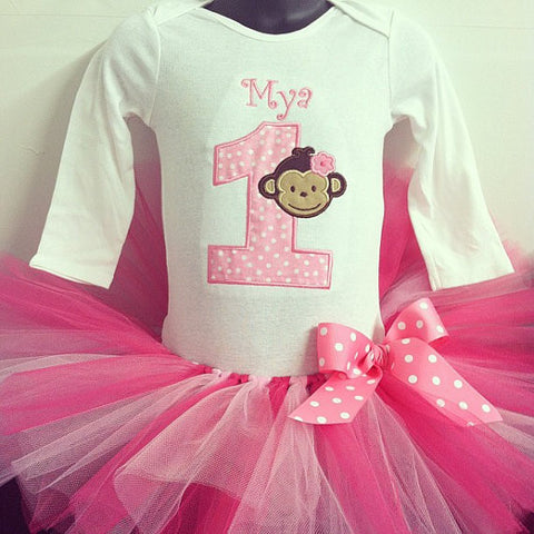 Personalized Mod Monkey Girl Birthday Tutu Set-  LT Pink Dot