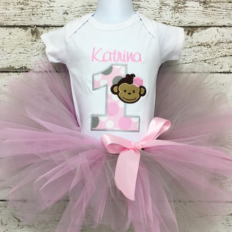 Personalized Mod Monkey Girl Birthday Tutu Set- Pink & Grey