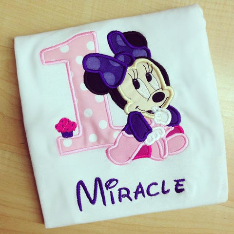 Personalized Baby Minnie Mouse Birthday Design - Pink/ Purple