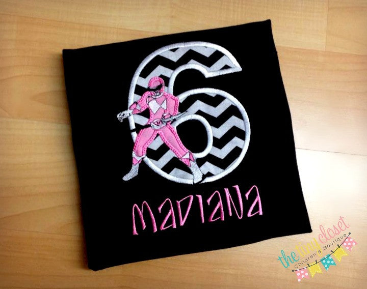 Personalized Power Ranger Birthday Design - Pink