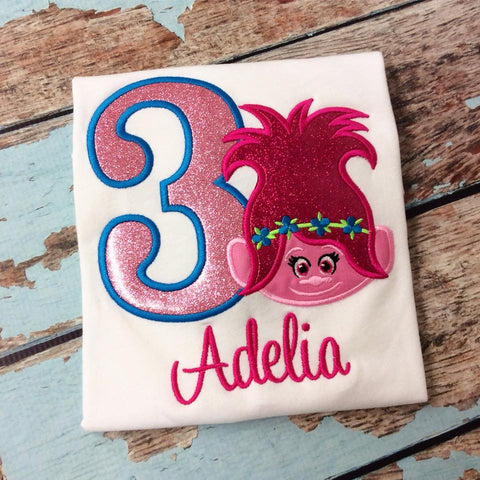 Personalized Troll Birthday Design- Poppy Glitter