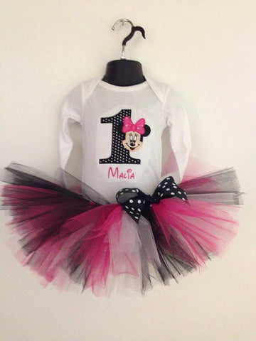 Personalized Full Face Minnie Mouse Birthday Design - Black/White Dot