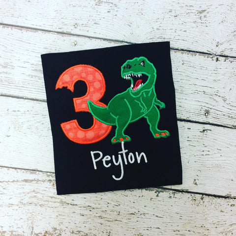 Personalized Tyrannosaurus Rex Birthday Design - Orange Dots
