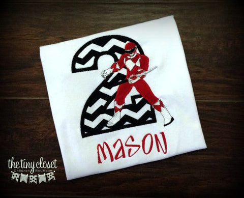 Personalized Power Ranger Birthday Design - Red