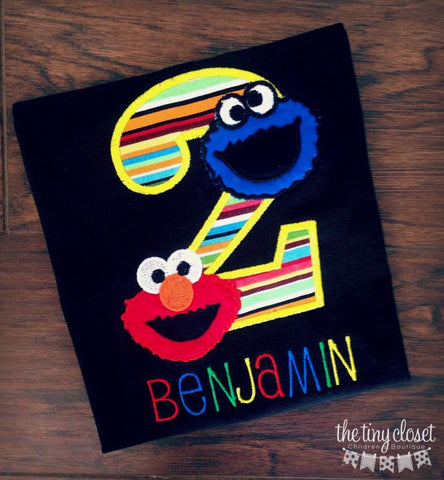 Personalized Shirt, Personalized Birthday Shirt, Personalized Elmo Birthday Shirt, Elmo, Elmo Shirt, Personalized Elmo Shirt, Elmo Birthday, Elmo Party, Cookie Monster, Cookie Monster Shirt, Cookie Monster Birthday, Cookiemonster, Sesame Street, Big Bird, Birthday shirt, Custom Birthday Shirt,