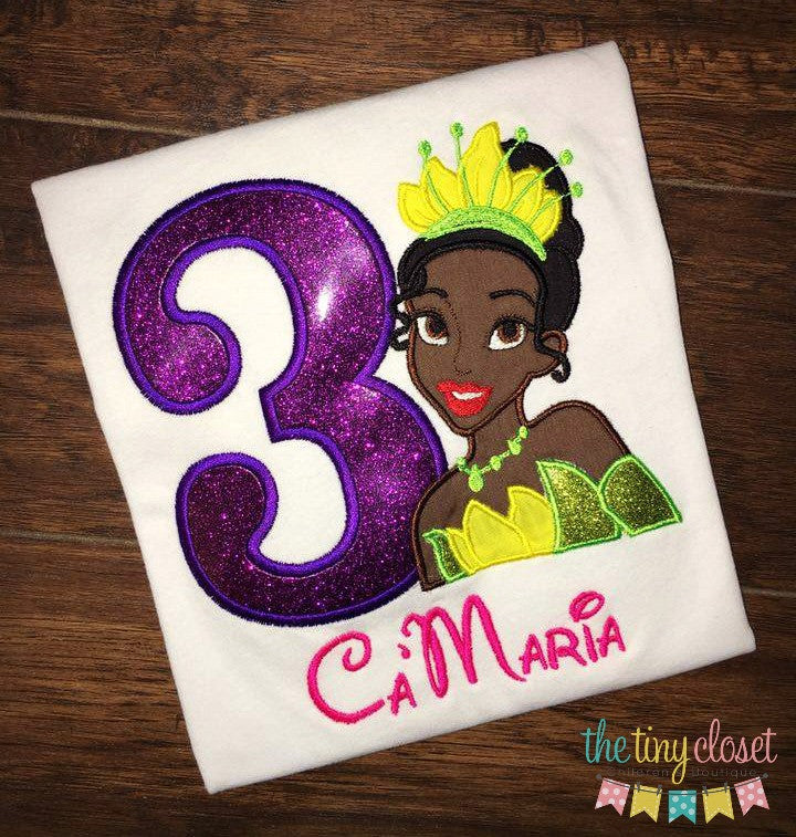 Personalized Princess & the Frog Birthday Design- Princess Tiana
