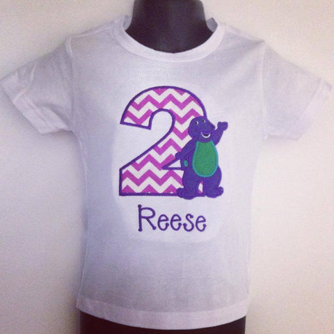Personalized Barney Birthday Design - Purple Chevron