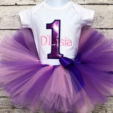 Personalized Purple Glitter Birthday Tutu Set