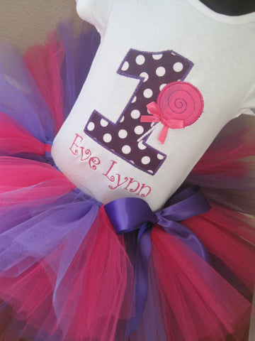 Personalized Lollipop Birthday Tutu Set-  HP & Purple