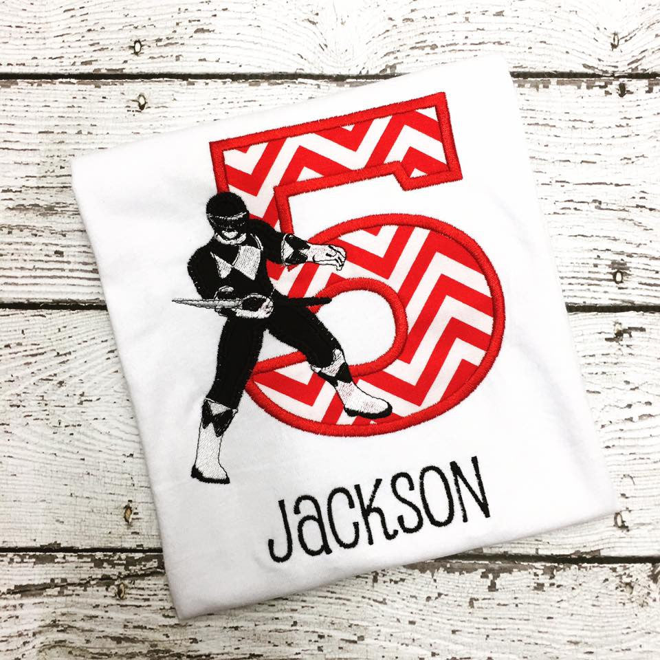 Personalized Power Ranger Birthday Design -Black