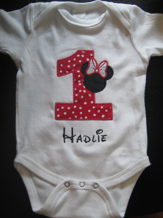 Personalized Minnie Mouse Birthday Design - Red/White Dot Silo