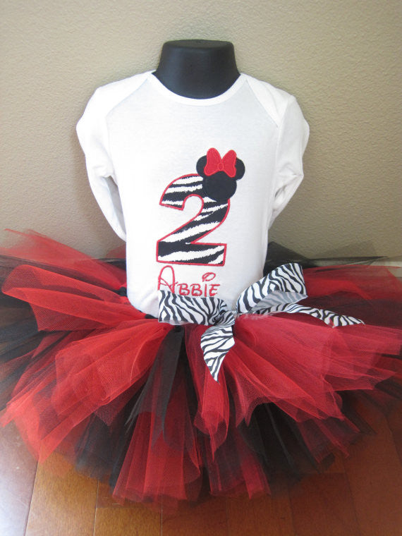 Personalized Minnie Mouse Birthday Tutu Set - Zebra & Red
