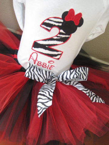 Personalized Minnie Mouse Birthday Design - Red Zebra