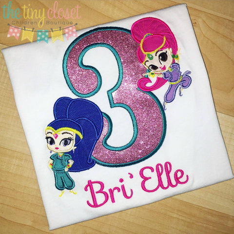 Personalized Shimmer & Shine Birthday Design - Glitter