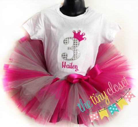 Personalized Princess Birthday Tutu Set - Hp & Silver