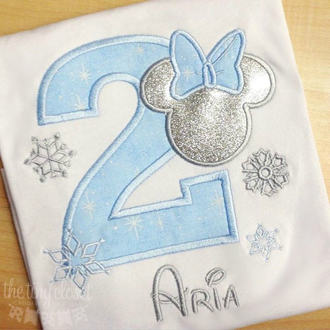 Personalized Minnie Mouse Birthday Design- Blue Winter