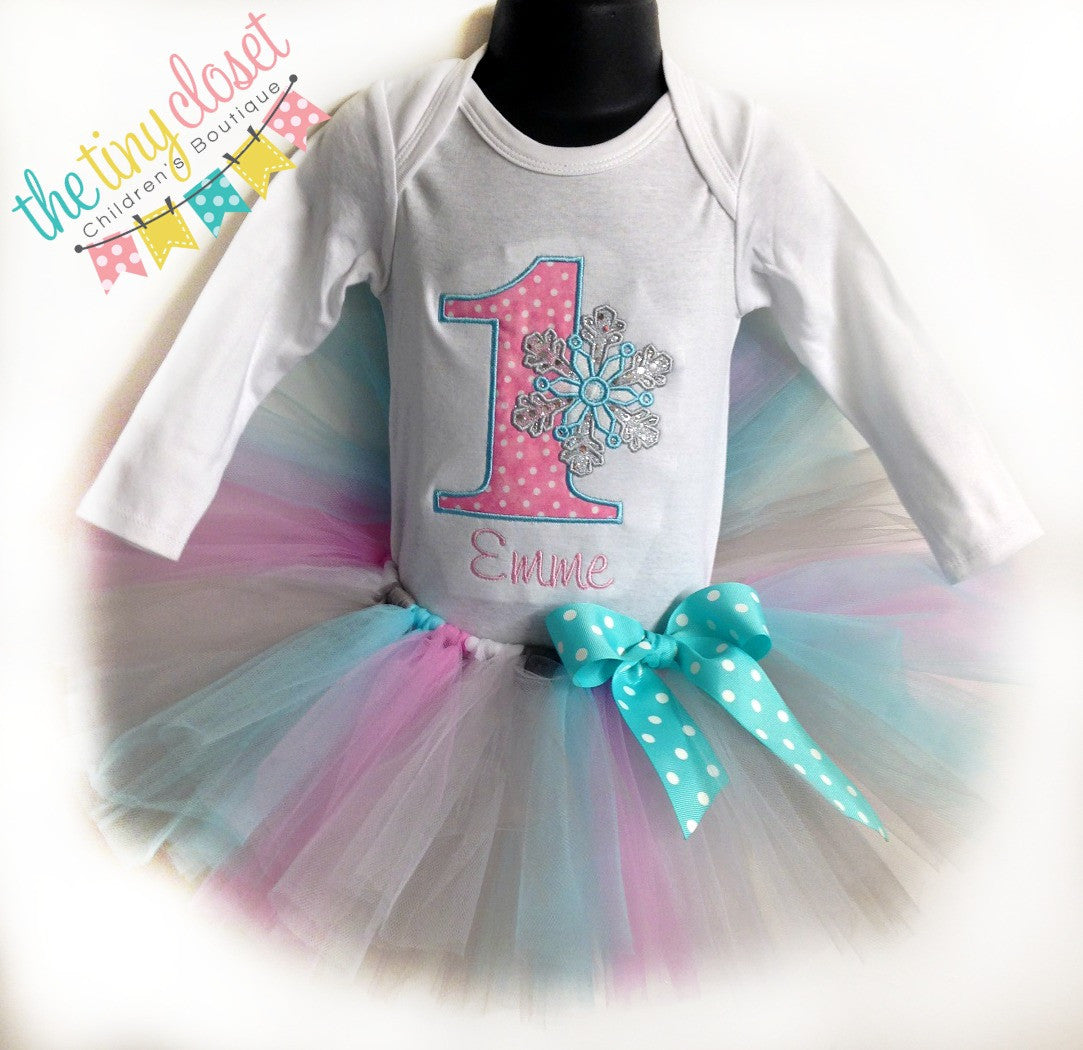 Personalized Winter Wonderland Birthday Tutu Set