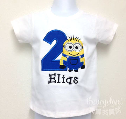 Personalized Minion Birthday Design - Dave Solid Blue