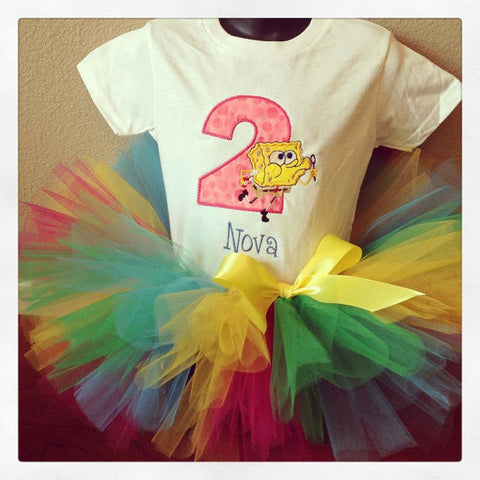 Personalized Sponge Bob Birthday Tutu Set